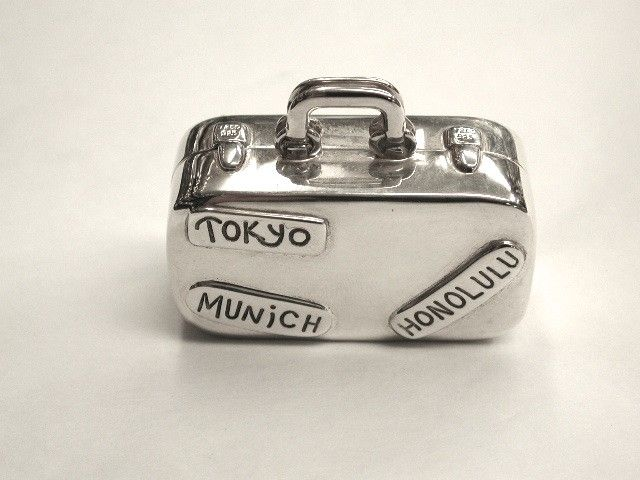 Tiffany and Co Silver Suitcase Pill Box
