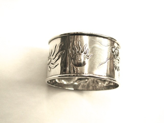 Chinese Silver Napkin Ring with Dragon Motif