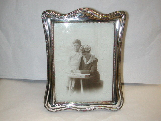 Antique Silver Photo Frame with original Oak Back