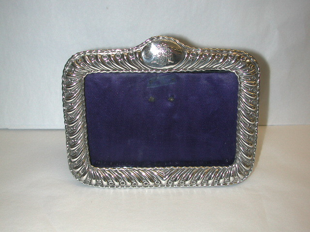 Antique Victorian Silver Photo Frame With Original Velvet Backing.