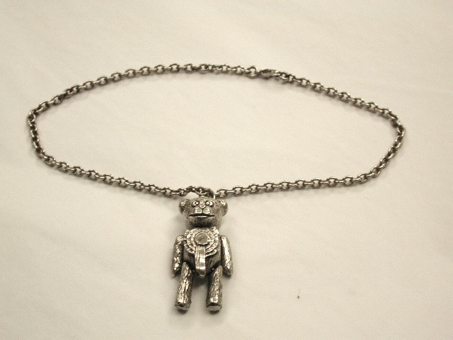 Articulated Cast Silver Teddy Bear Pendant on Heavy Silver Chain