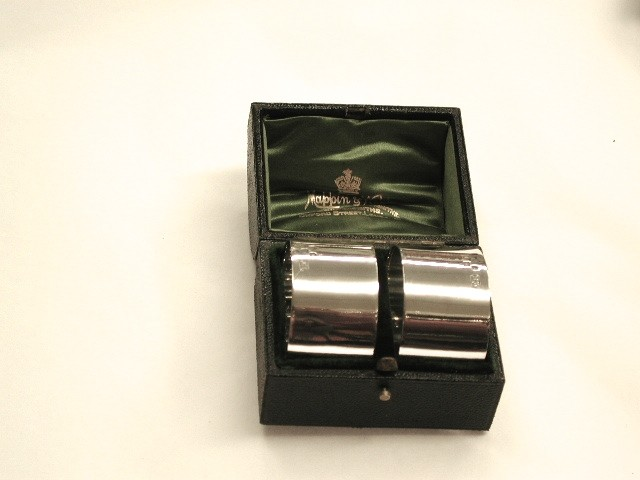 Pair of Mappin and Webb Silver Napkin Rings in Leather Bound Box