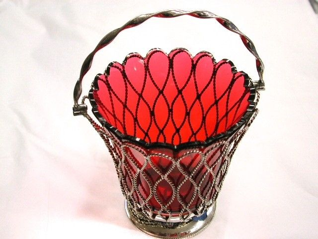Elkington Silver Plated Rope-Work Sugar Basket with Ruby Glass Liner