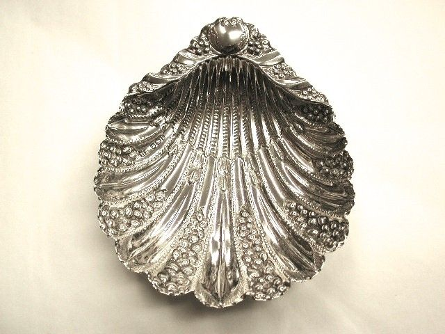 Antique Victorian Embossed Silver Shell Sweet Dish