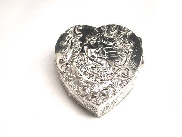 Antique Embossed German Silver Heart Shaped Pill Box