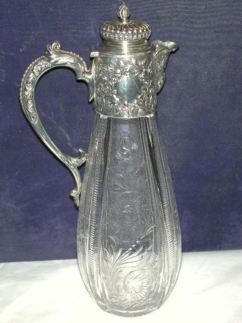 Antique Cut Glass and Embossed Silver Topped Claret Jug