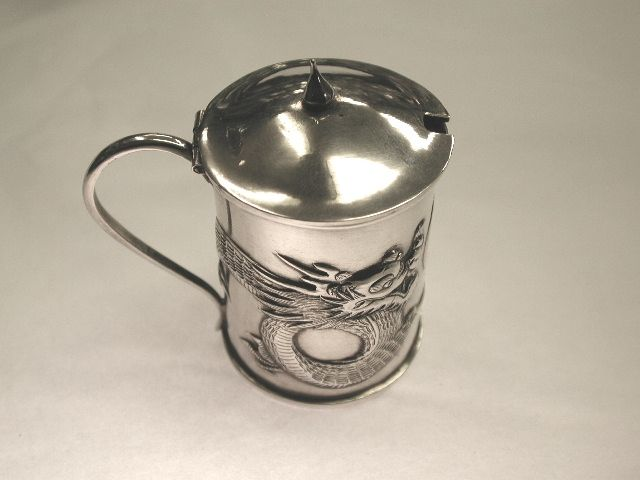 Chinese Silver Mustard Pot with Embossed Dragon Motif