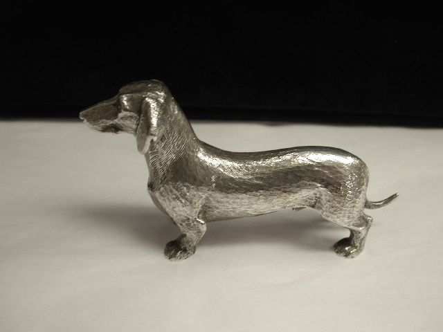 Silver Plated Model of a Dachshund