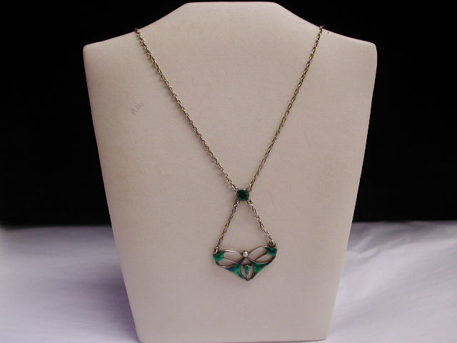 Antique Art Nouveau  Charles Horner Silver and Enamel Pendant and Chain with Seed Pearl