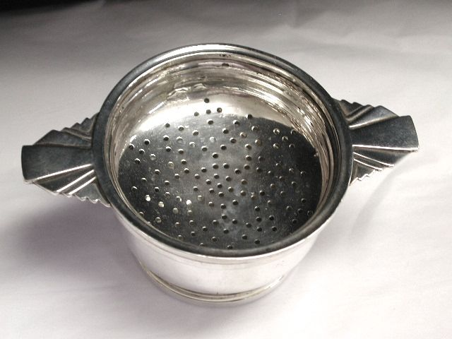 Art Deco Silver Teastrainer and Bowl