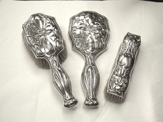 3 Piece Art Nouveau Silver Dressing Table Brush and Mirror Set
