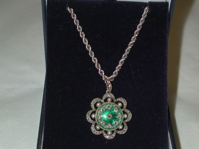 Edwardian High Carat Green Enamel Pendant set with Pearls and Rose Cut Diamonds on 18ct White  Gold Rope Chain