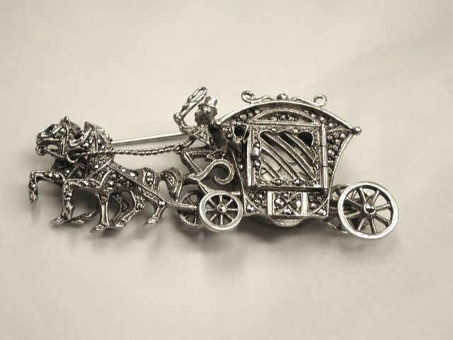 Silver Miniature Coach and Horses Brooch and Watch