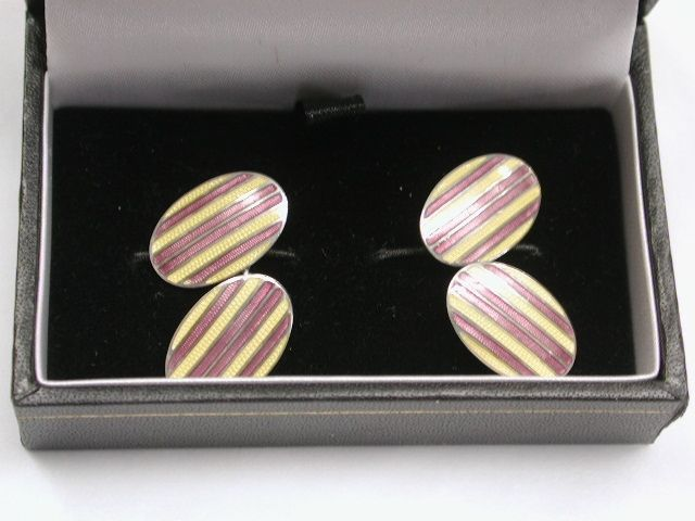 Pair of 1930's Silver and Enamel Cufllinks