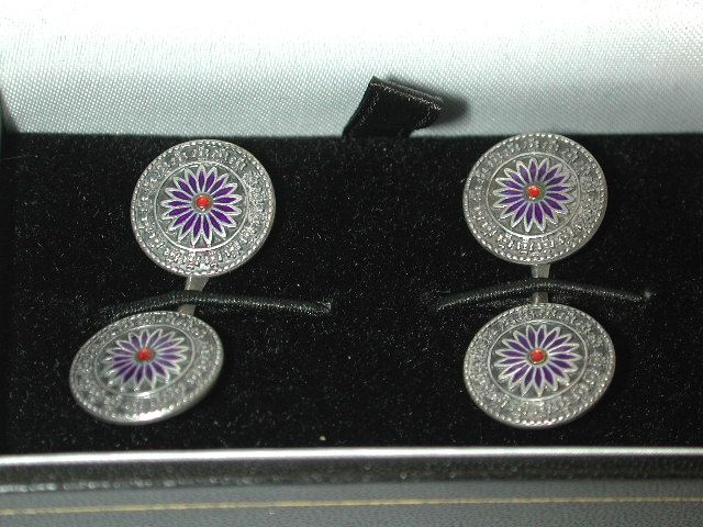 Pair of German Silver and Enamel Cufflinks