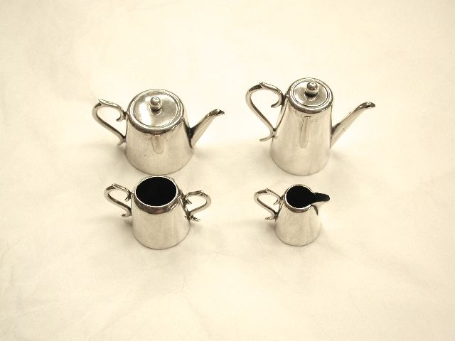Silver 4 Piece Antique Minature Tea and Coffee Set