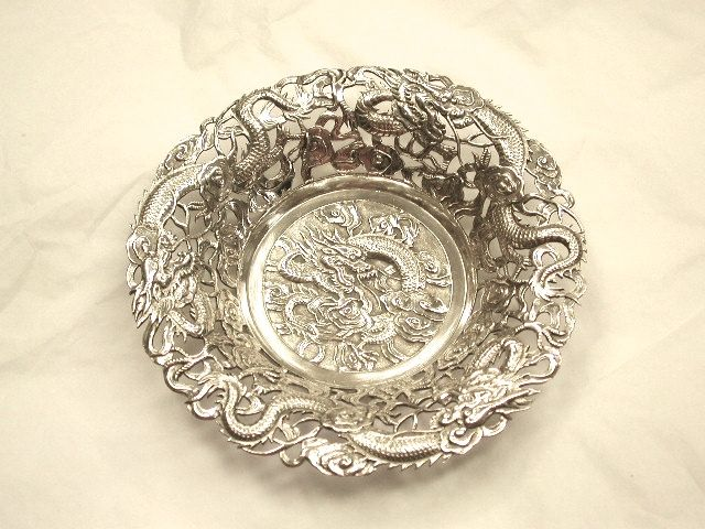 Chinese Silver Embossed and Pierced Sweet Dish