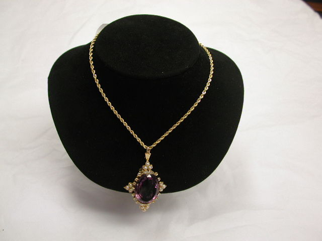 18ct Antique Gold Amethyst, Pearl and Diamond Brooch/Pendant on 18ct Gold  Prince of Wales Chain