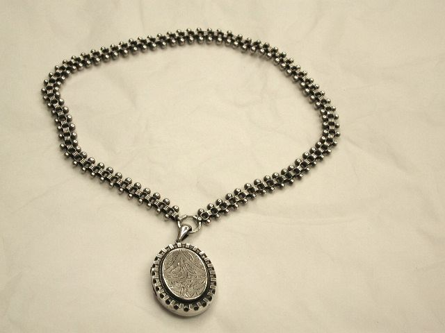 Antique Victorian Silver Hallmarked Locket and Chain