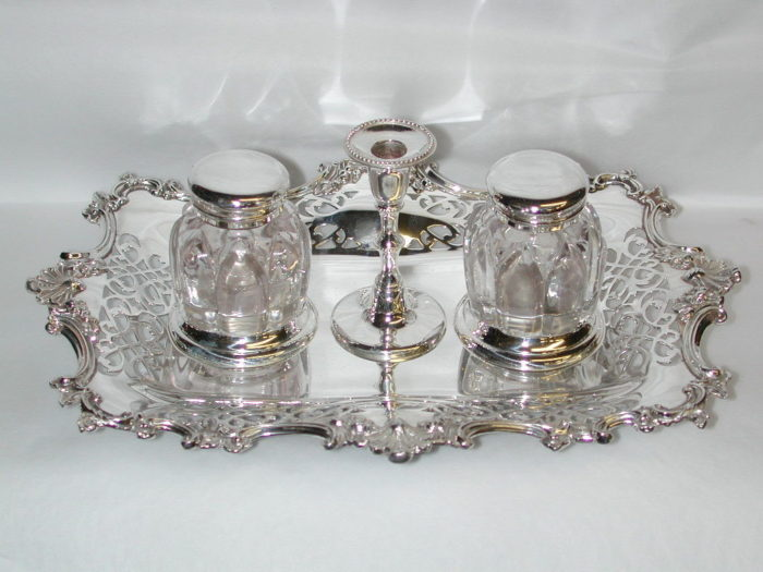 Antique Silver Plated Victorian 2 Bottle Inkstand