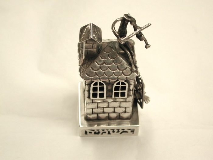 "Silver Spice Box depicting "" Fiddler on The Roof"""