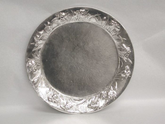 Japanese Silver Round Hand Hammered Tray, circa 1900