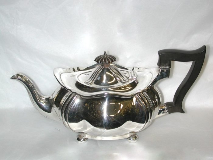 Edwardian Silver Teapot on 4 Ball Feet, 1906