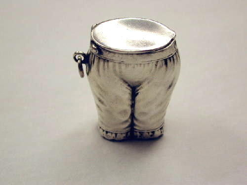 Antique Victorian Silver Plated Vesta Case in the shape of a Pair of Bloomers