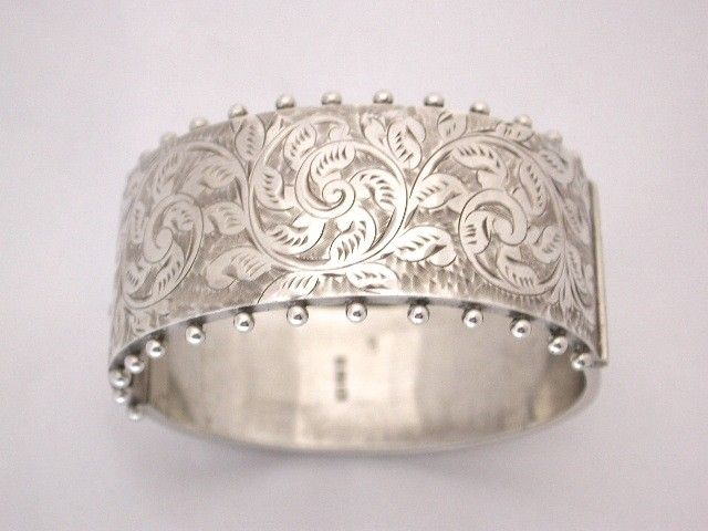 Antique Victorian Silver Hand Engraved Bangle