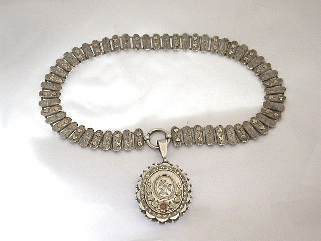 Antique Victorian Silver Locket and Chain with Two Colour Goldwork