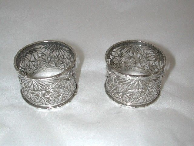 Pair of Antique Chinese Silver Napkin Rings