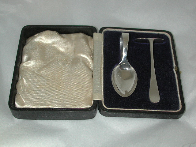 Silver Spoon and Pusher in fitted box
