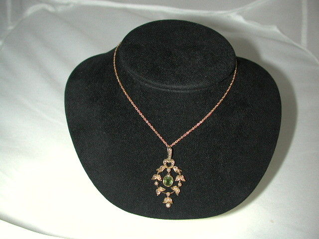 Antique 15 Ct Gold Peridot and Pearl set  Pendant on 9 ct Chain