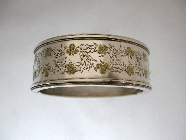 Antique Victorian Silver Bangle with applied gold Work