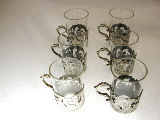 Set of 6 Silver and glass Liquer Cups