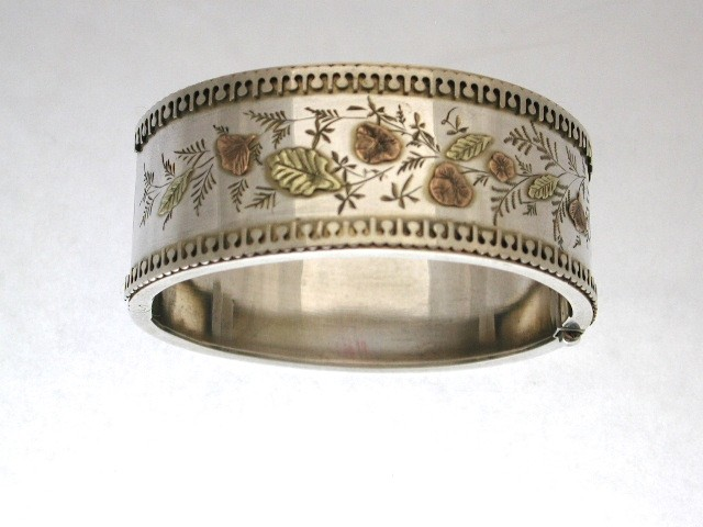 Antique Victorian Silver Bangle with Applied Two Colour Gold Work