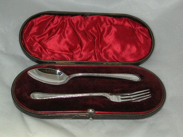 Victorian Silver Christening Spoon and Fork