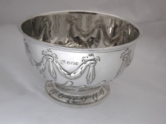 Victorian Embossed Silver Rose Bowl