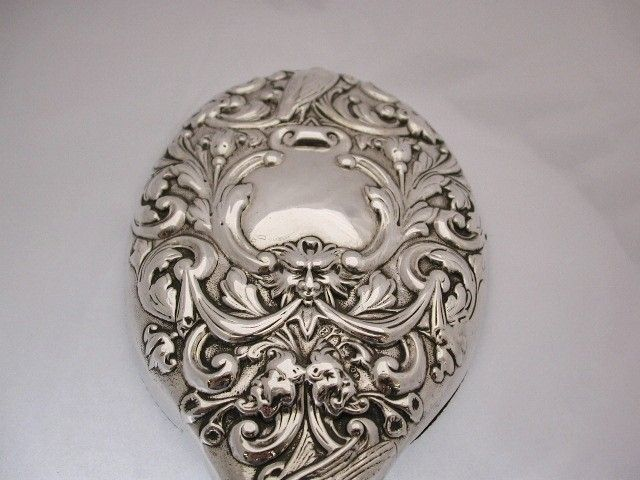 Antique Victorian Silver Embossed Hand Mirror