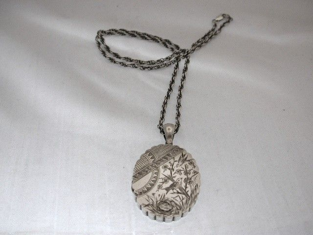 Antique Victorian Silver Locket with Silver Prince of Wales Chain
