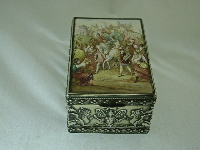 Antique German Silver Box with Viennese Enamel
