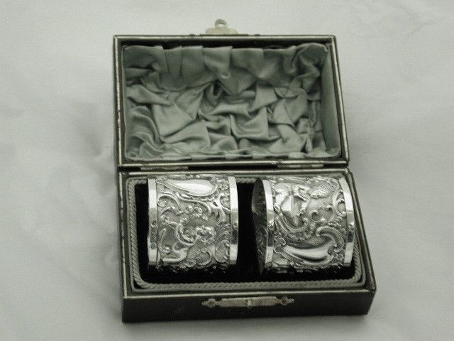 Pair of Antique Victorian Silver Napkin Rings with Cherub Embossing