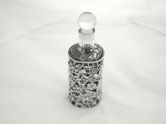 Victorian Silver Sleeved Glass Scent Bottle