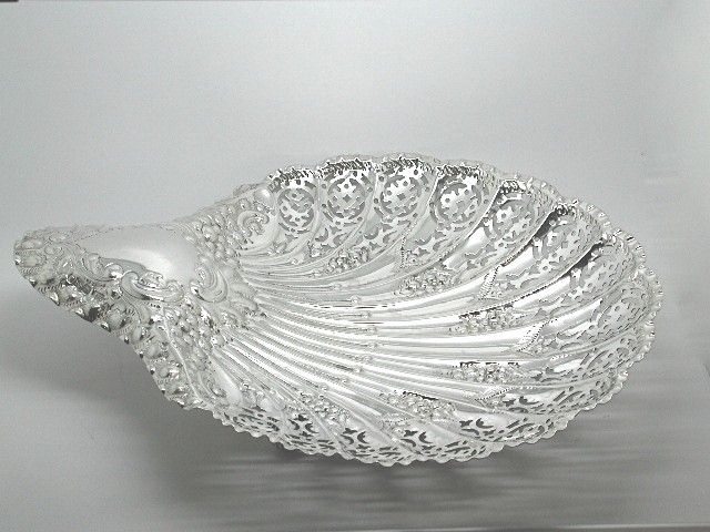 Antique Silver Pierced and Embossed Shell Sweet Dish