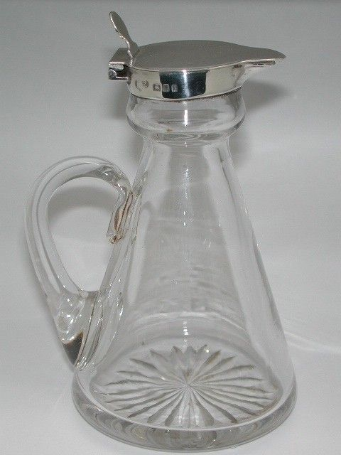 Silver topped Glass Whisky Jug