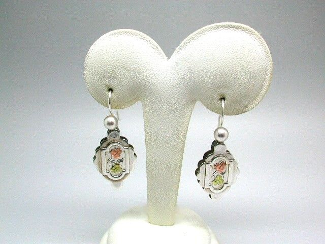 Pair of Antique Victorian Silver Earrings With Applied Goldwork