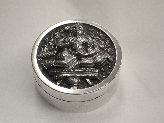 Indian Silver Pill Box