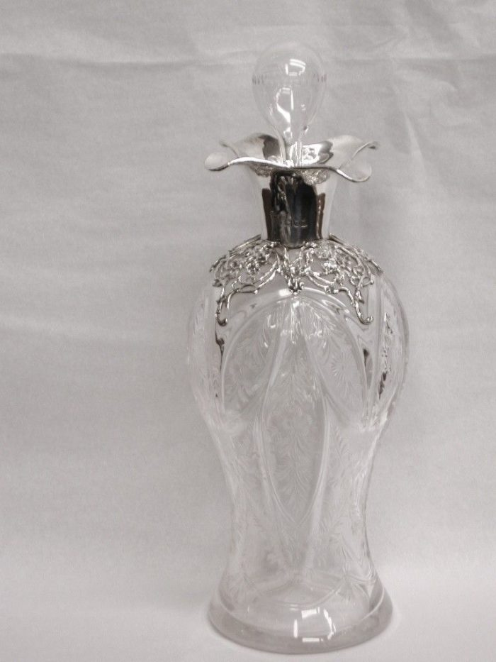 Silver Topped Cut Glass Decanter