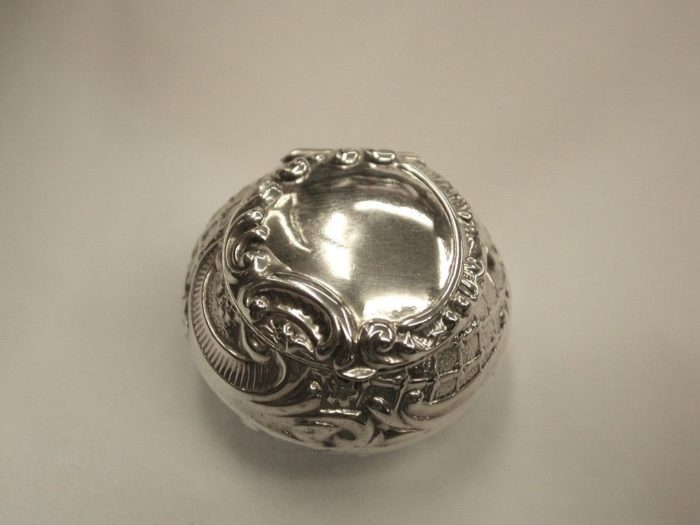 Antique Embossed Silver Pill box