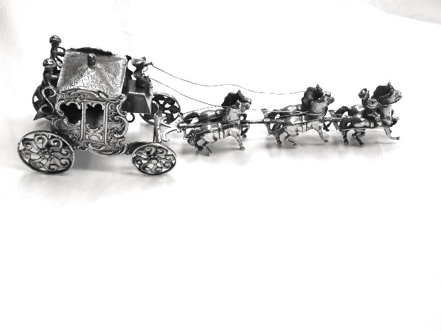 Miniature Silver Coach and Horses